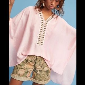 Anthro pink silk kimono poncho top with embroidery